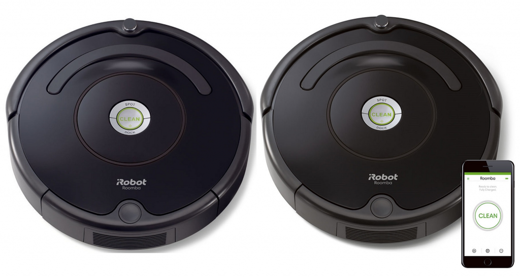 Roomba 614 next to Roomba 675 along with a smartphone..