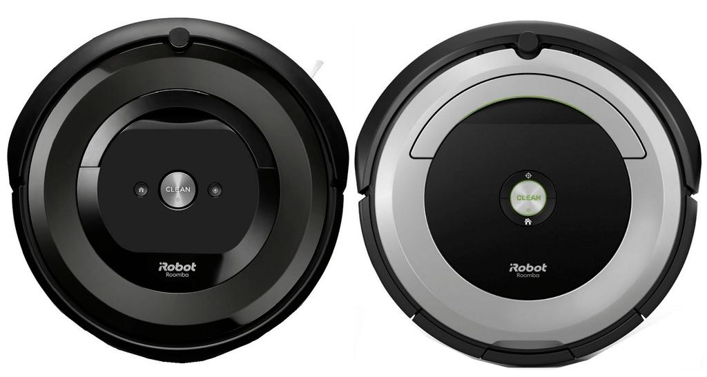 Roomba e5 next to Roomba 695.