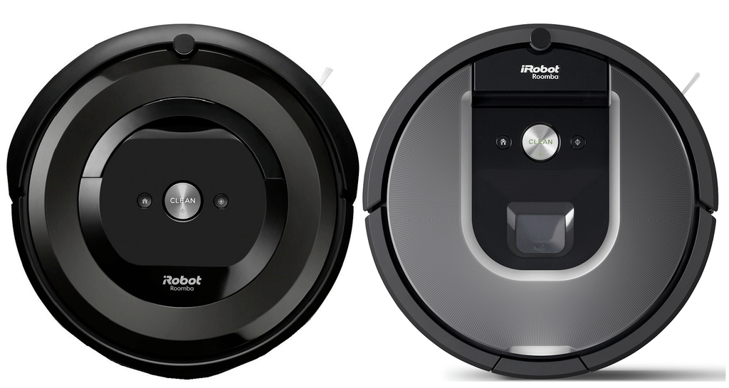 Roomba e5 next to Roomba 960.
