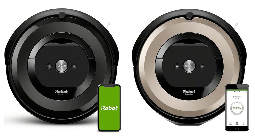 Roomba e5 next to Roomba e6.
