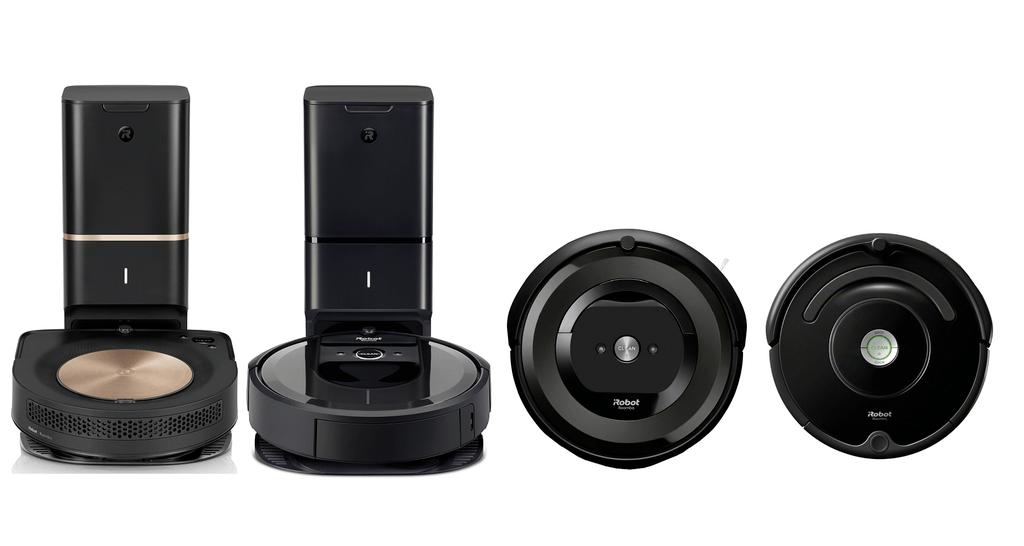 Roomba S9+ next to Roomba i7+, Roomba e5 and Roomba 675.